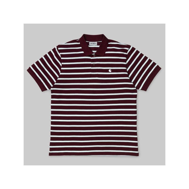 Polo Carhartt: SS Houston Polo (Houston Stripe Cranberry)
