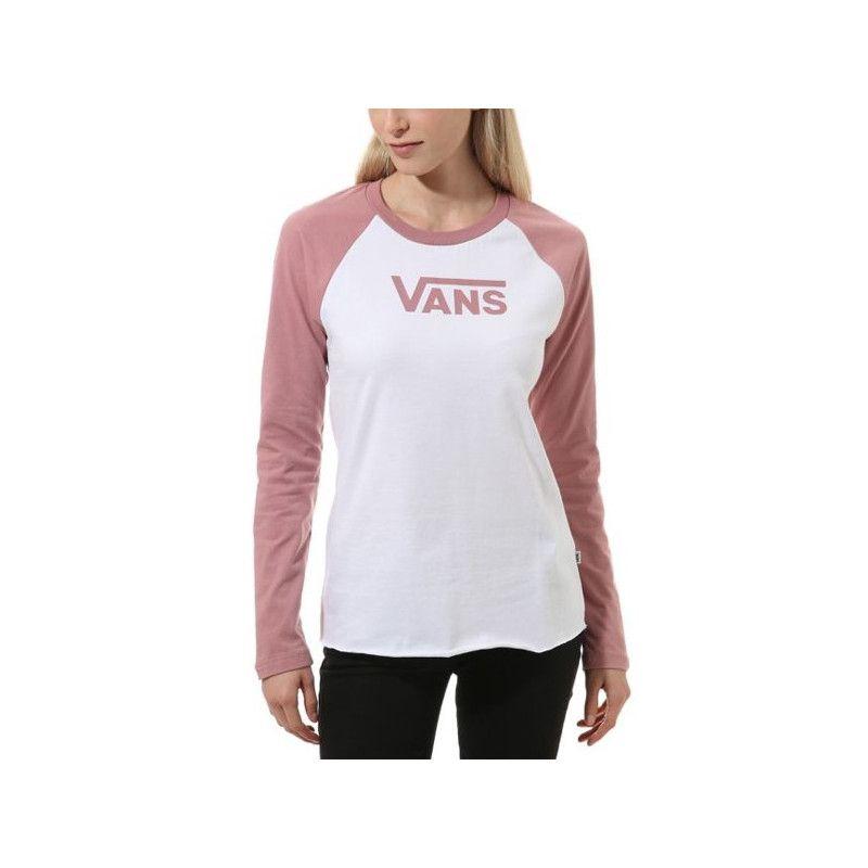 Camiseta Vans: FLYING V CLASSIC LS RAGLAN (WHT NOST ROSE)