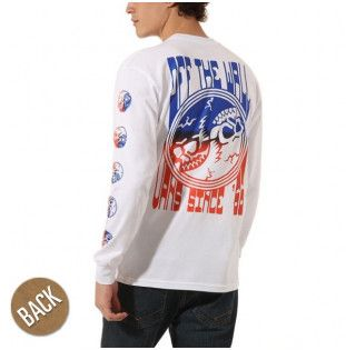 Camiseta Vans: GRADIENT SKULL LS (White)