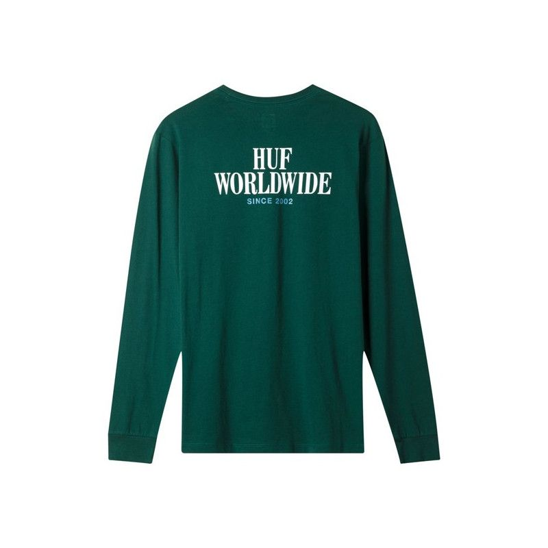 Camiseta HUF: SERIF STACK LS POCKET (BOTANICAL GREEN)