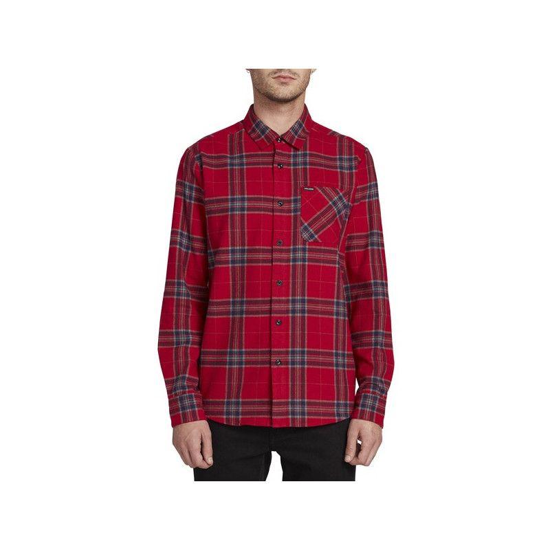 Camisa Volcom: CADEN PLAID LS (ENGINE RED)