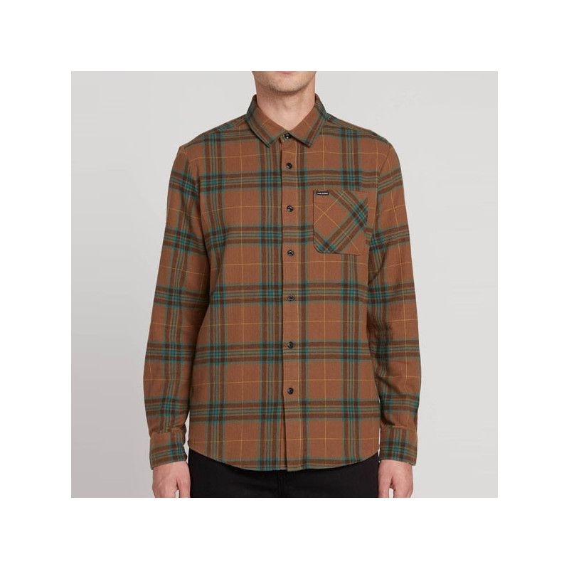 Camisa Volcom: CADEN PLAID LS (MUD)