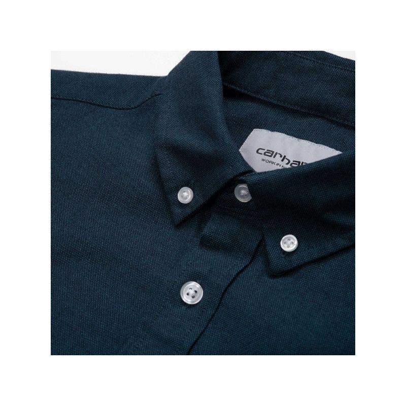 Camisa Carhartt: LS Dalton Shirt (Dark Navy Prussian Blue)