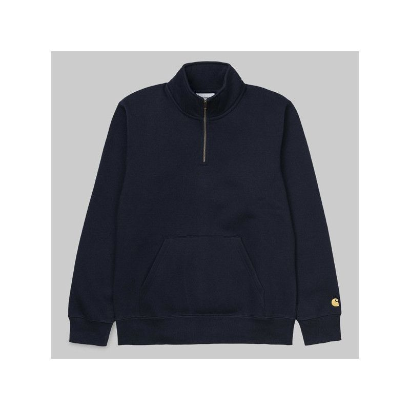 Sudadera Carhartt: Chase Neck Zip Sweat (Dark Navy Gold)