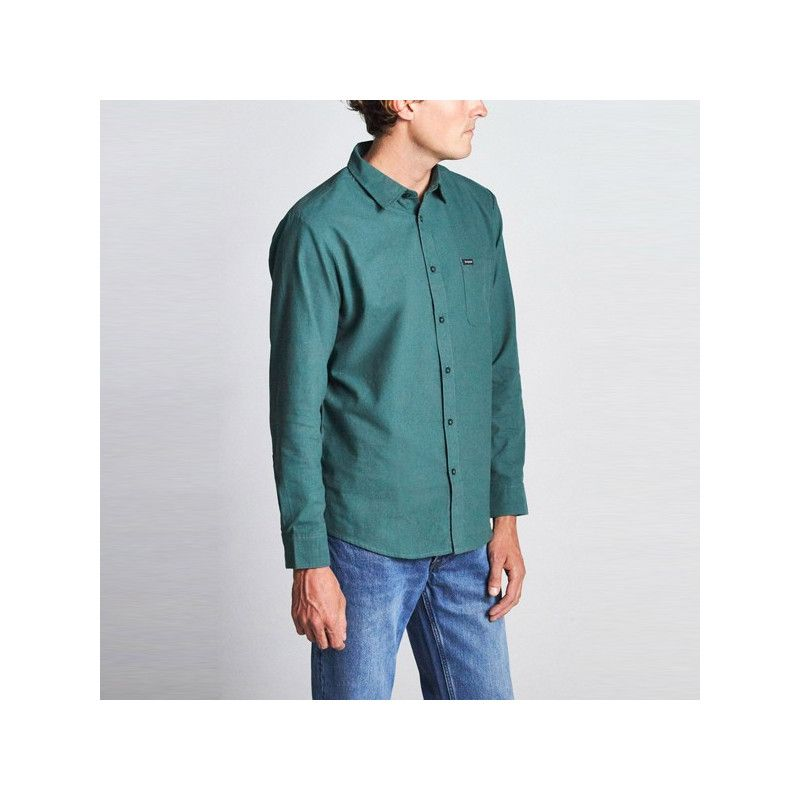 Camisa Brixton: CHARTER OXFORD LS WVN (EMERALD)