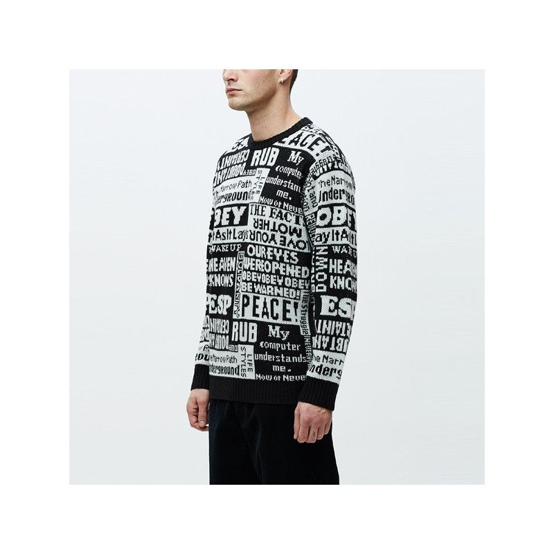 Jersey Obey: POST SWEATER (BLACK MULTI)