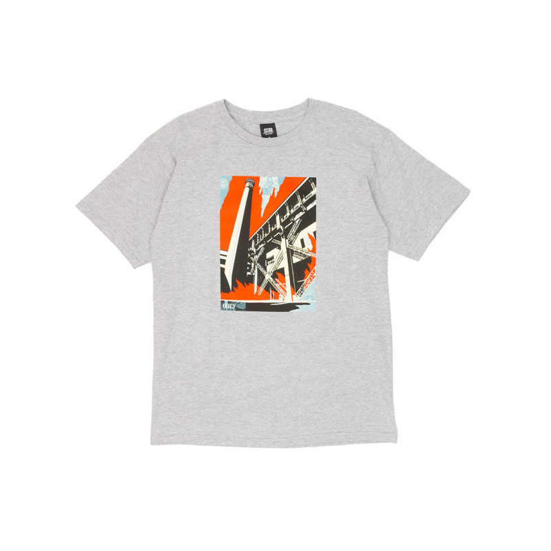 Camiseta Obey: Obey fossil factory (Heather grey)