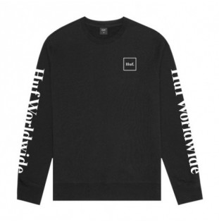 Sudadera HUF: ESSENTIALS DOMESTIC CREW (BLACK)