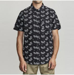 Camisa RVCA: EASY PALMS SS (BLACK)