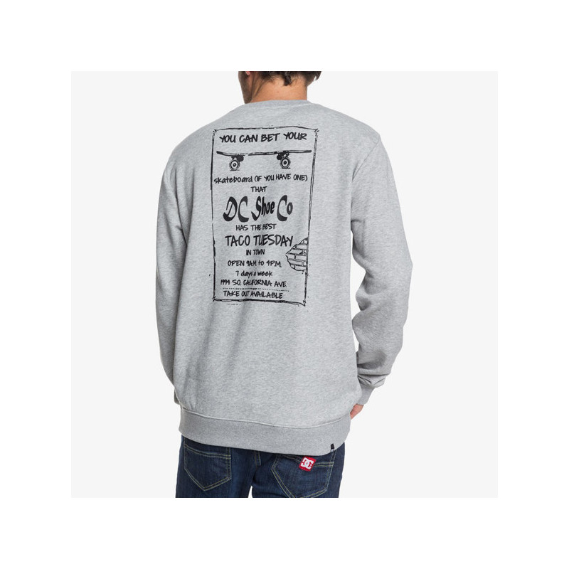 Sudadera DC Shoes: TACO TUESDAY CR (GREY HEATHER)