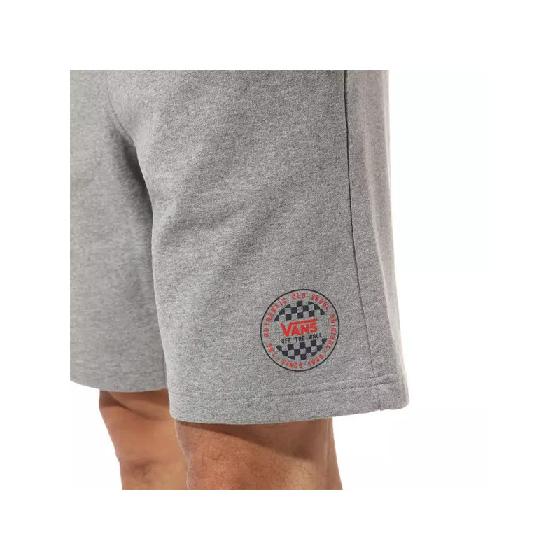 Bermuda Vans: MN OG CHECKER FLEECE SHORT (CEMENT HEATHER)