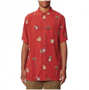 Camisa Globe: HALF CUT SS SHIRT (BRICK RED)