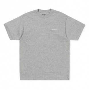 Camiseta Carhartt: SS SCRIPT EMBROIDERY T SHIRT (GRY HEA WHT)