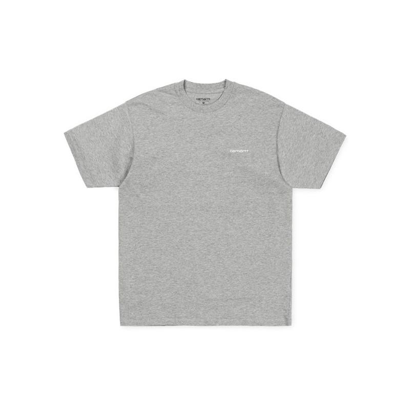 Camiseta Carhartt: SS SCRIPT EMBROIDERY T SHIRT (GRY HEA WHT)