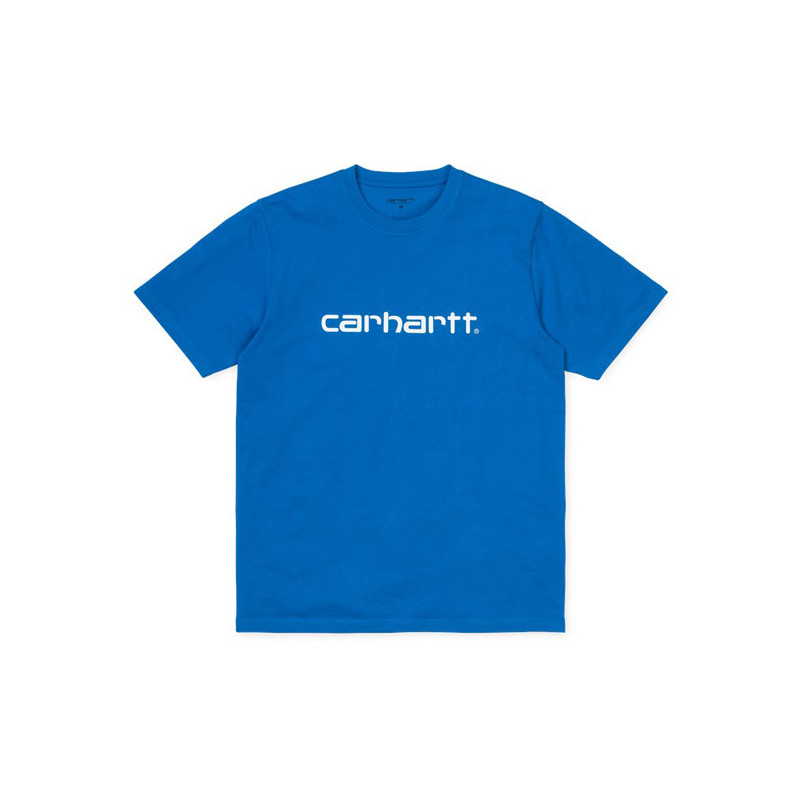 Camiseta Carhartt: SS SCRIPT T SHIRT (AZZURO WHITE)