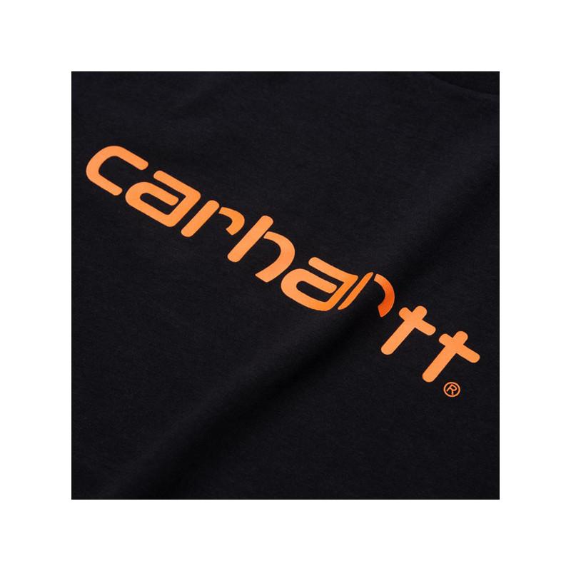 Camiseta Carhartt: SS SCRIPT T SHIRT (DARK NAVY POP ORANGE)