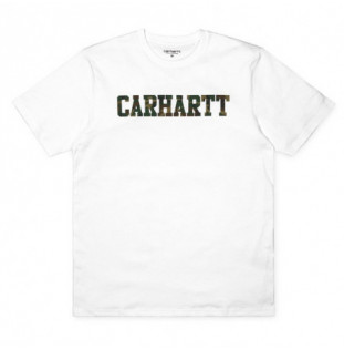 Camiseta Carhartt: SS COLLEGE T SHIRT (WHITE CAMO LAUREL)