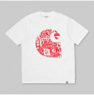 Camiseta Carhartt: SS COLLAGE C T SHIRT (WHITE ETNA RED)