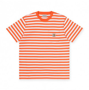 Camiseta Carhartt: SS SCOTTY POCKET T SHIRT (STRP CLCKWK WHT)