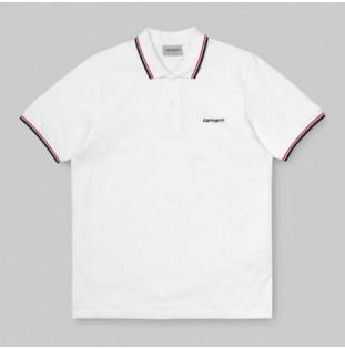 Polo Carhartt: SS SCRIPT EMBROIDERY POLO (WHT ETN RED NY)