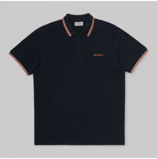 Polo Carhartt: SS SCRIPT EMBROIDERY POLO (DK NY WHT CLWK)