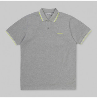 Polo Carhartt: SS SCRIPT EMBROIDERY POLO (GRY HE WT LIME)