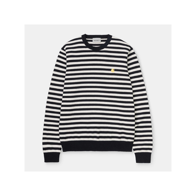 Jersey Carhartt: SCOTTY SWEATER (STRIPE NAVY)