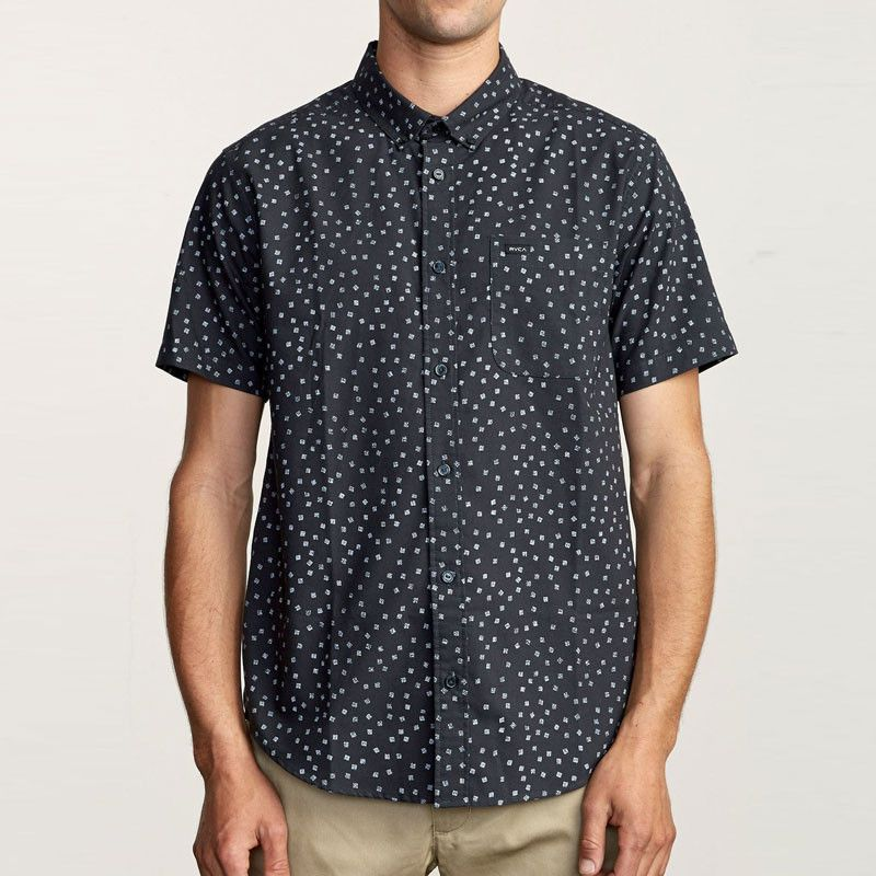 Camisa RVCA: THATLL DO PRINT SS (BLACK/WHITE)