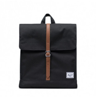 Mochila Herschel: City Mid Volume (Black Tan Synth Leather) Herschel - 1