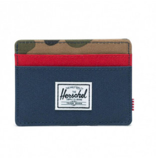 Cartera Herschel: Charlie RFID (Navy Red Woodland Camo)