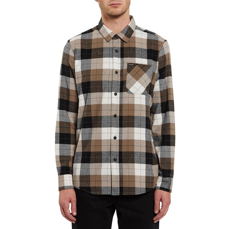 Camisa Volcom: CADEN PLAID L/S (PRIMER WHITE)