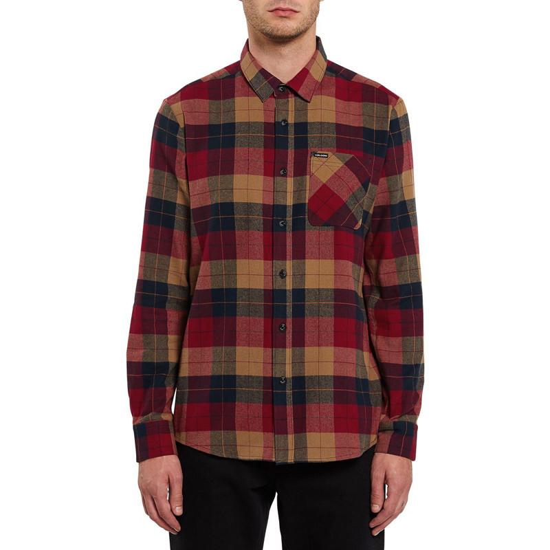 Camisa Volcom: CADEN PLAID L/S (RIO RED)