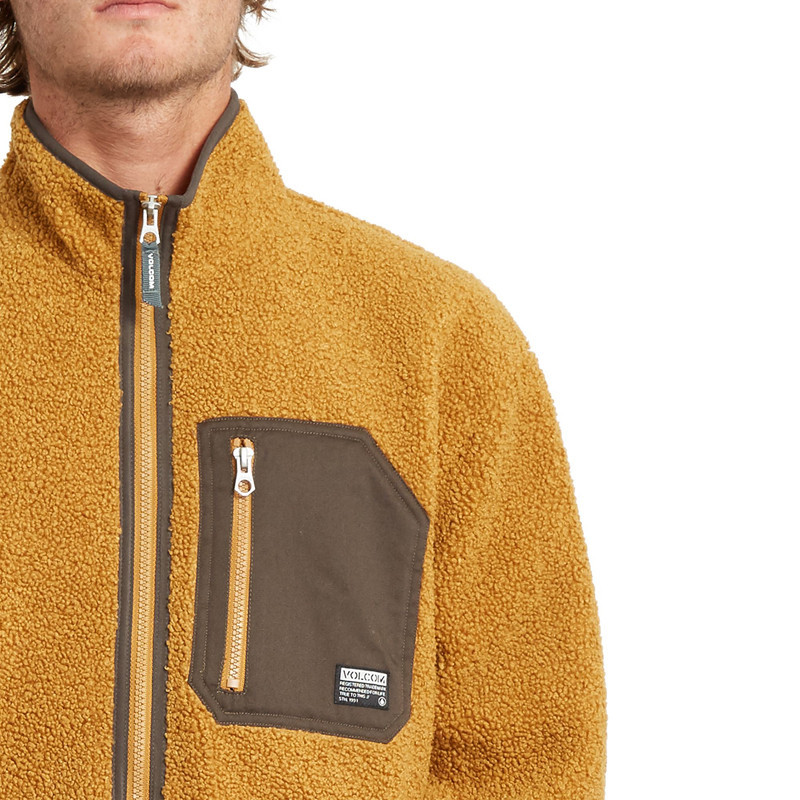 Sudadera Volcom: MUZZER FUZZAR ZIP (GOLDEN BROWN)