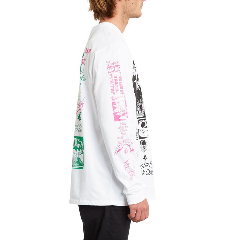 Camiseta Volcom: BITS OF BRAIN BSC LS (WHITE)