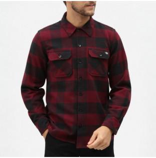 Camisa Dickies: SACRAMENTO RELAXED LS SHIRT (MAROON)