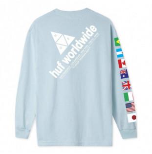 Camiseta HUF: FLAG UNION LS TEE (LIGHT BLUE)