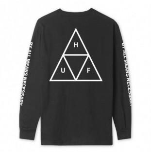 Camiseta HUF: ESSENTIALS TT LS TEE (BLACK) HUF - 1