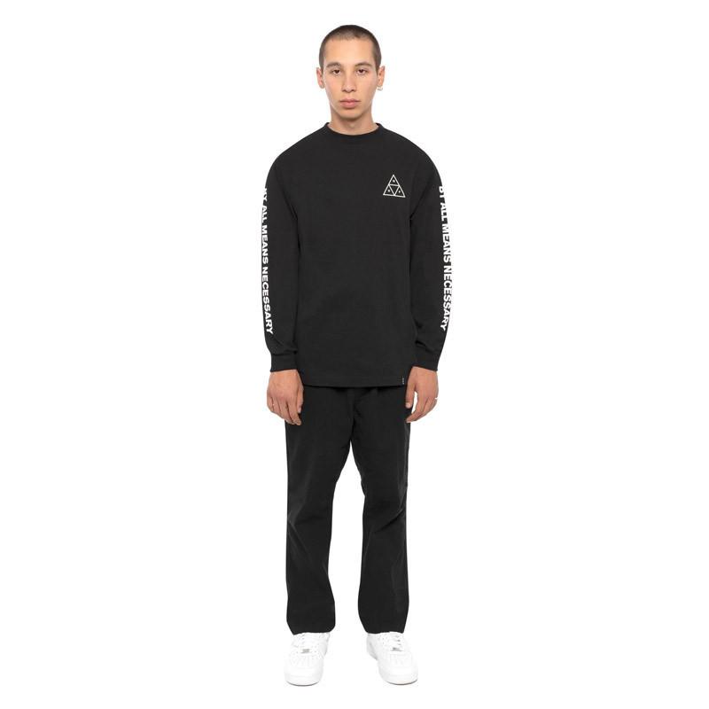 Camiseta HUF: ESSENTIALS TT LS TEE (BLACK)