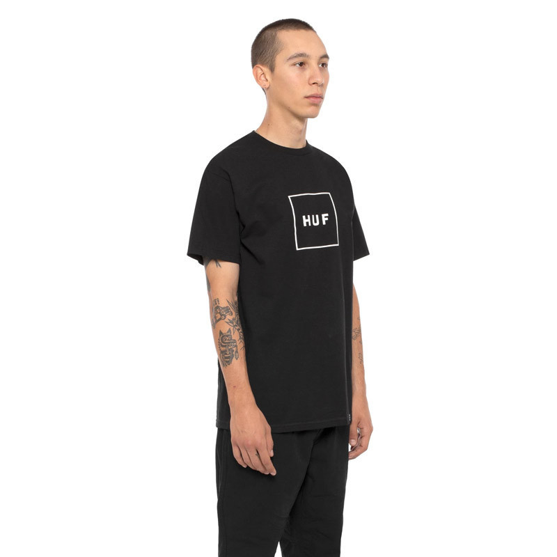 Camiseta HUF: ESSENTIALS BOX LOGO SS TEE (BLACK)
