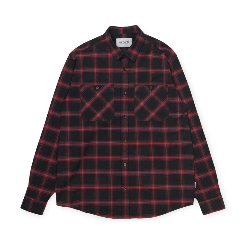 Camisa Carhartt: LS Darren Shirt (Darren Check Bordeaux)