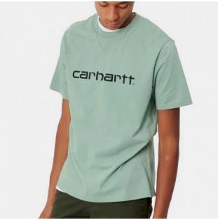 Camiseta Carhartt: SS Script TShirt (Frosted Green Black)