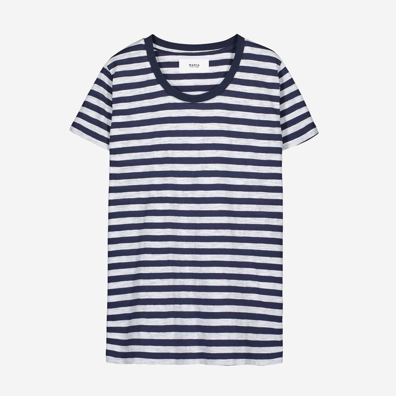 Camiseta Makia: Verkstad T shirt (NAVY WHITE)