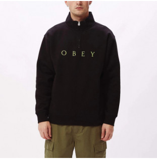 Sudadera Obey: LASSEN MOCK NECK ZIP (BLACK) Obey - 1