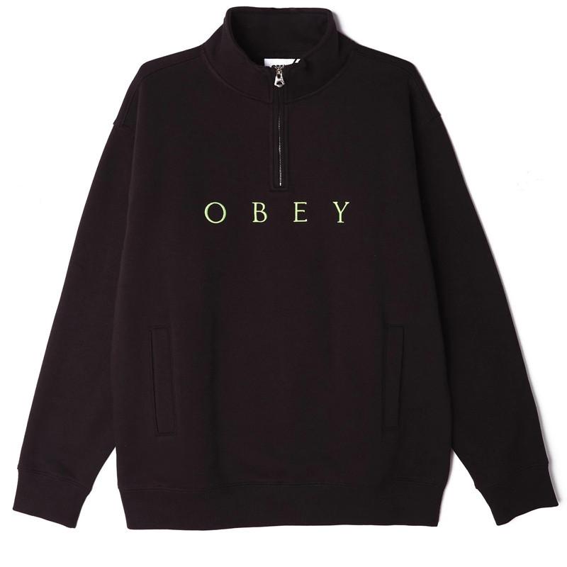 Sudadera Obey: LASSEN MOCK NECK ZIP (BLACK)