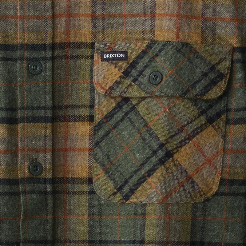 Camisa Brixton: BOWERY LS FLANNEL (EVERG)