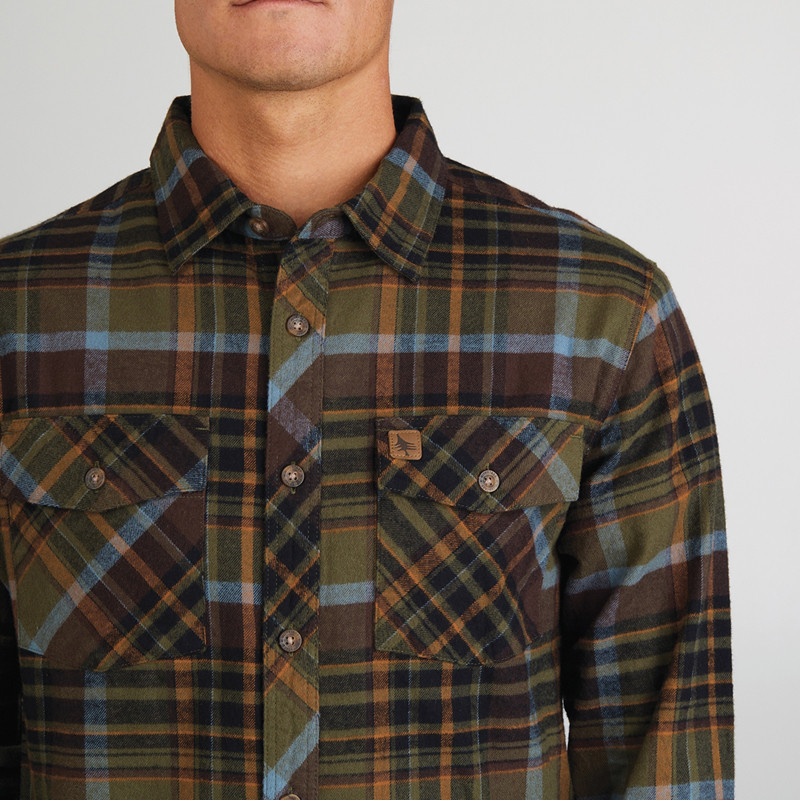 Camisa Hippytree: Rockaway Eco Flannel (Army)