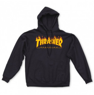 Sudadera Thrasher: FLAME HOOD (BLACK)  - 1
