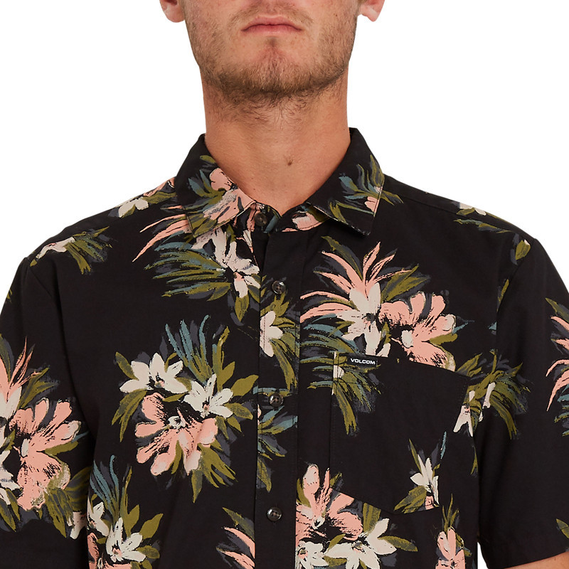 Camisa Volcom: Floral With Cheese (Black)