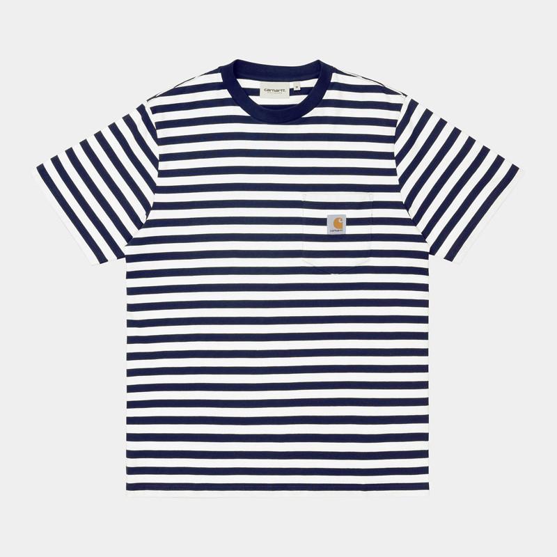 Camiseta Carhartt: SS Scotty Pocket TShirt (Strp Dk Ny Wht)
