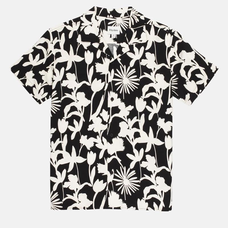 Camisa Rhythm: Melrose Linen SS Shirt (Black)